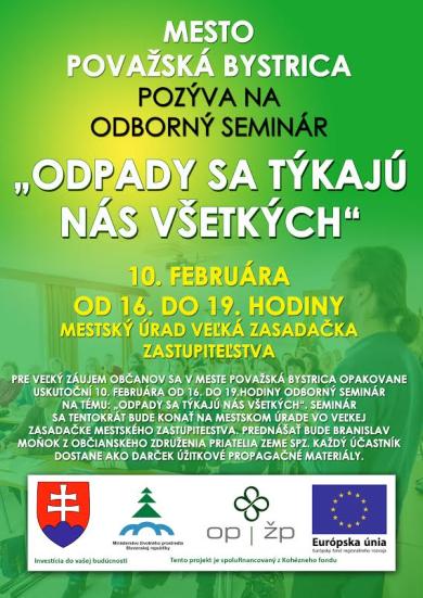 """Mesto Považská Bystrica Vás pozýva na odborný seminár """"Odpady sa týkajú nás všetkých"""" dňa 10. 2. 2016"""